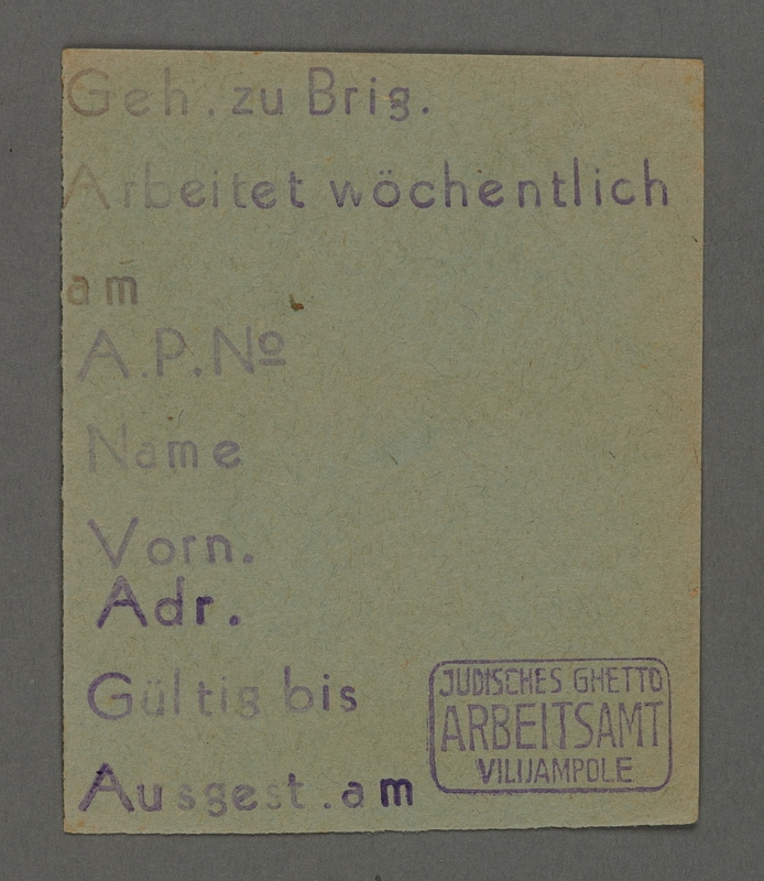 1995.89.373 front Work assignment slip from the Kovno ghetto