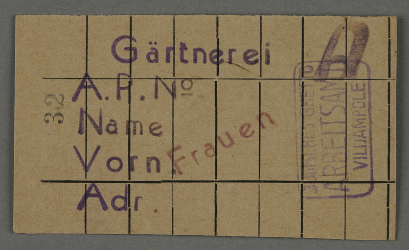 1995.89.374 front Work assignment slip for women to work in the Kovno ghetto horticultural nursery