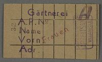 1995.89.374 front Work assignment slip for women to work in the Kovno ghetto horticultural nursery  Click to enlarge