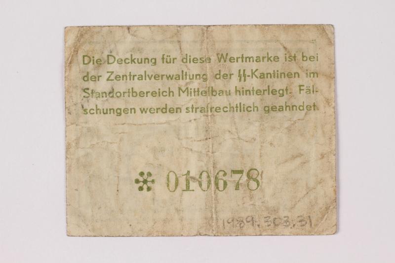 1989.303.31 back Mittelbau forced labor camp scrip, .10 Reichsmark, issued to a Czech Jewish prisoner