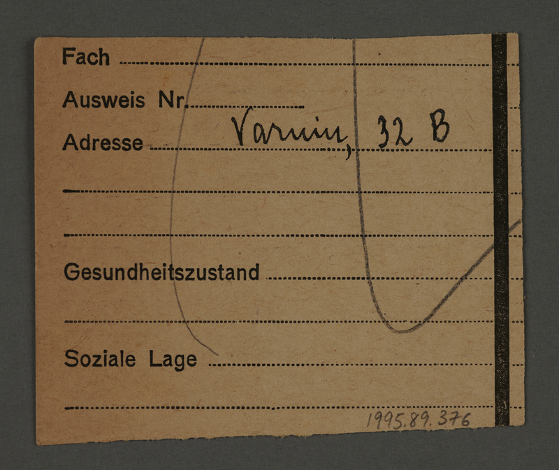 1995.89.376 back Work assignment slip from the Kovno ghetto for the loading/shipping unit