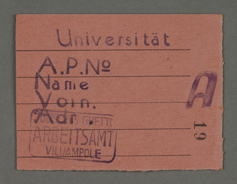 1995.89.379 front Work assignment slip from the Kovno ghetto