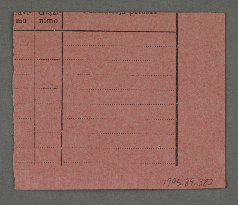 1995.89.382 back Work assignment slip from the Kovno ghetto issued to men