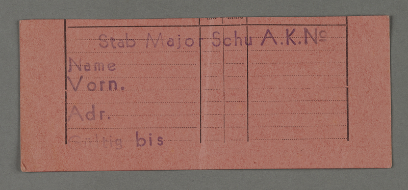 1995.89.383 front Work assignment slip from the Kovno ghetto