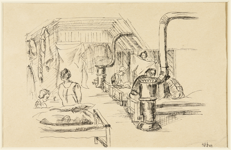 1988.1.37 a front Two-sided drawing of women in barracks and woman doubled over by a German Jewish internee