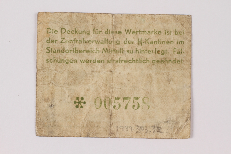 1989.303.32 back Mittelbau forced labor camp scrip, .10 Reichsmark, issued to a Czech Jewish prisoner