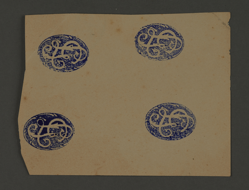 1995.89.384 front Ink stamp impression from an administrative department of the Kovno ghetto