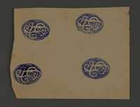 1995.89.384 front Ink stamp impression from an administrative department of the Kovno ghetto  Click to enlarge