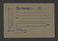 1995.89.387 front Receipt form issued by the labor insertion office of the Kovno ghetto  Click to enlarge