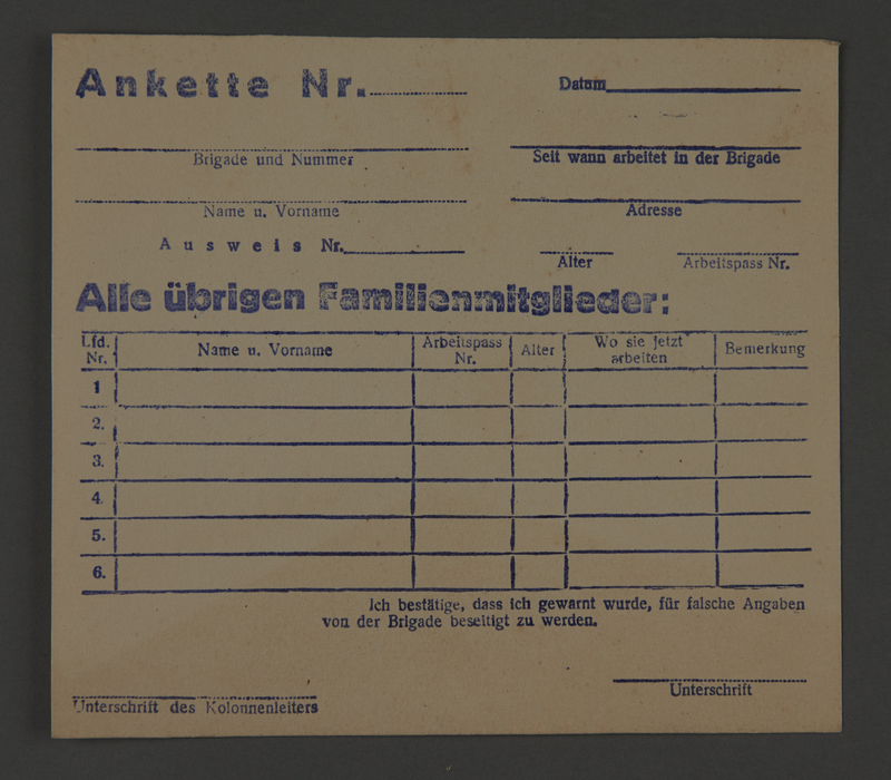 1995.89.388 front Registration form issued to work brigade members in the Kovno ghetto for identification of their relatives