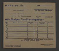 1995.89.388 front Registration form issued to work brigade members in the Kovno ghetto for identification of their relatives  Click to enlarge