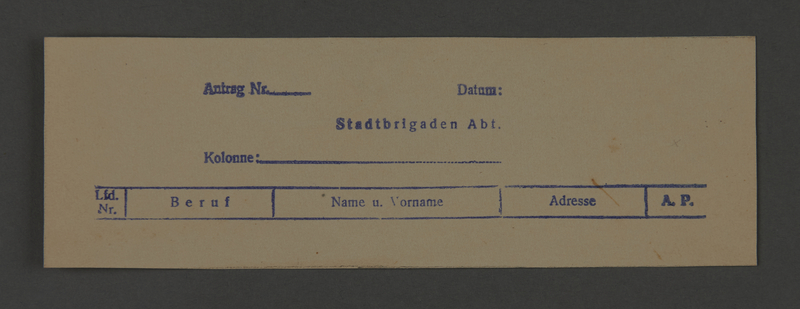 1995.89.389 front Application form for work on a city labor brigade in the Kovno ghetto