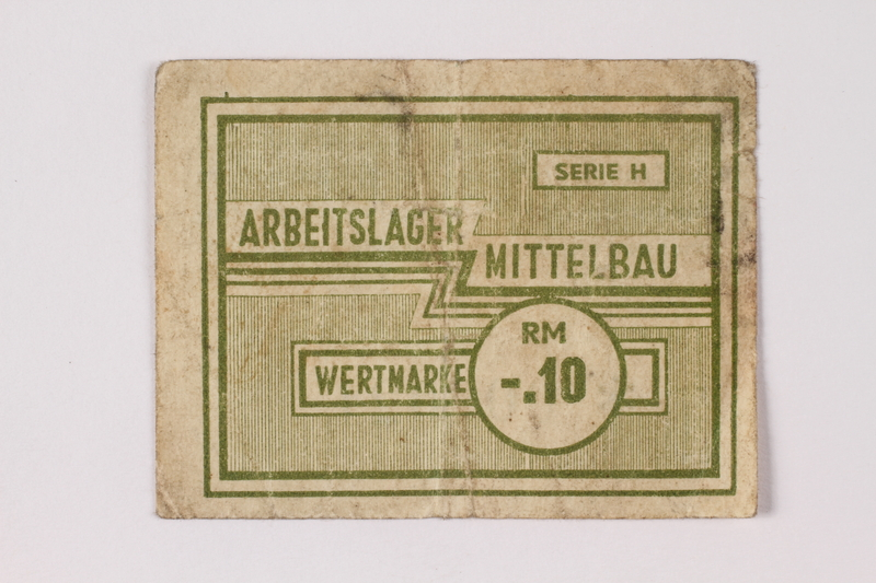 1989.303.33 front Mittelbau forced labor camp scrip, .10 Reichsmark, issued to a Czech Jewish prisoner