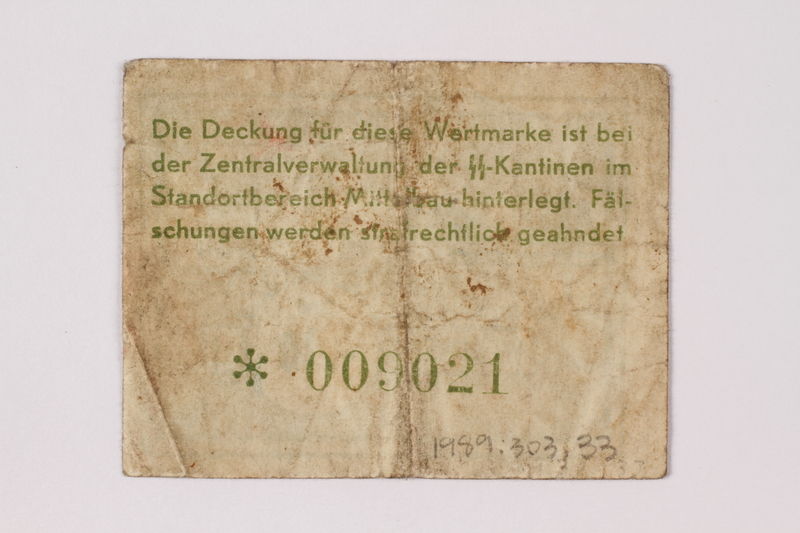 1989.303.33 back Mittelbau forced labor camp scrip, .10 Reichsmark, issued to a Czech Jewish prisoner