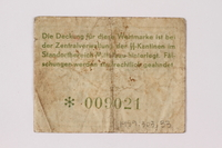 1989.303.33 back Mittelbau forced labor camp scrip, .10 Reichsmark, issued to a Czech Jewish prisoner  Click to enlarge