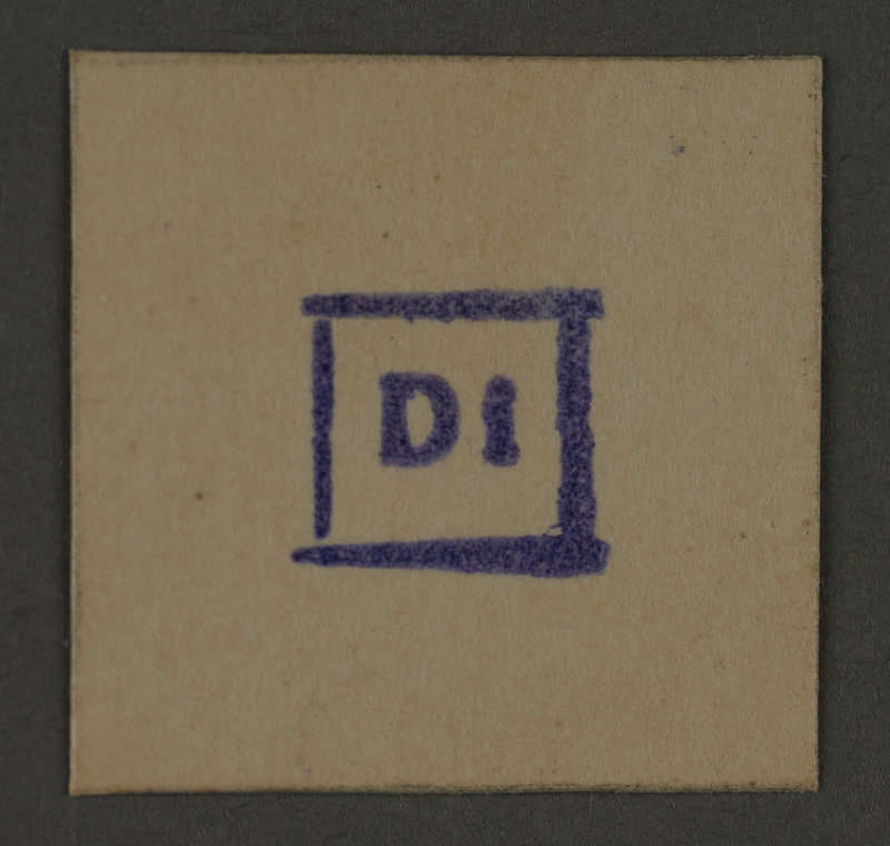 1995.89.400 front Date stamp impression from an administrative department of the Kovno ghetto