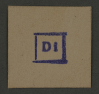 1995.89.400 front Date stamp impression from an administrative department of the Kovno ghetto  Click to enlarge