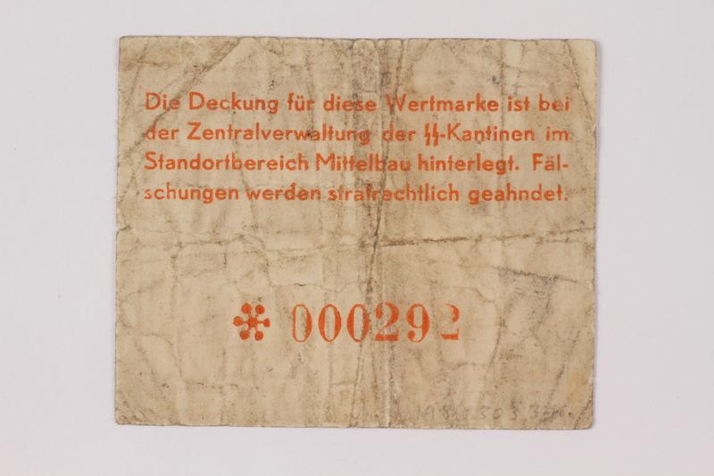 1989.303.34 back Mittelbau forced labor camp scrip, .25 Reichsmark, issued to a Czech Jewish prisoner