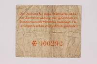 1989.303.34 back Mittelbau forced labor camp scrip, .25 Reichsmark, issued to a Czech Jewish prisoner  Click to enlarge