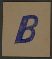 1995.89.401 front Letter stamp from an administrative department of the Kovno ghetto  Click to enlarge
