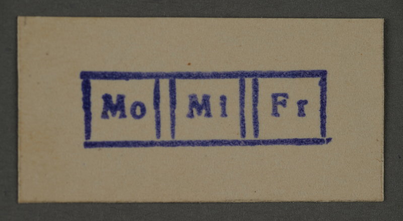 1995.89.402 front Date stamp impression from an administrative department of the Kovno ghetto