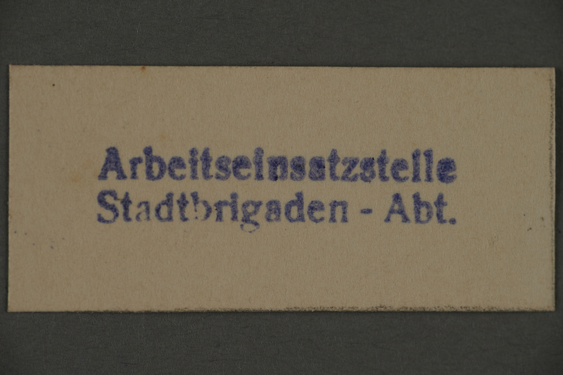 1995.89.403 front Ink stamp impression from the city labor brigade section of the labor insertion office of the Kovno ghetto