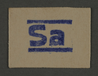 1995.89.404 front Ink stamp impression from an administrative department of the Kovno ghetto  Click to enlarge