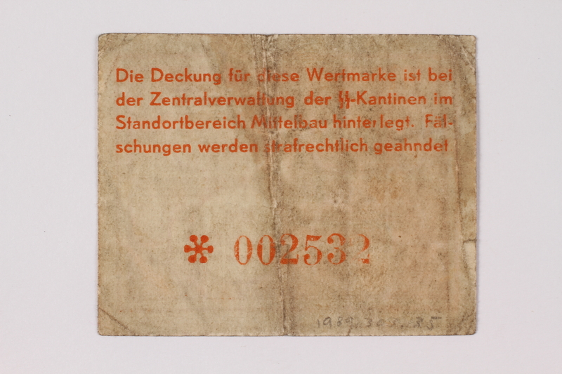 1989.303.34 back Mittelbau forced labor camp scrip, .25 Reichsmark, issued to a Czech Jewish prisoner