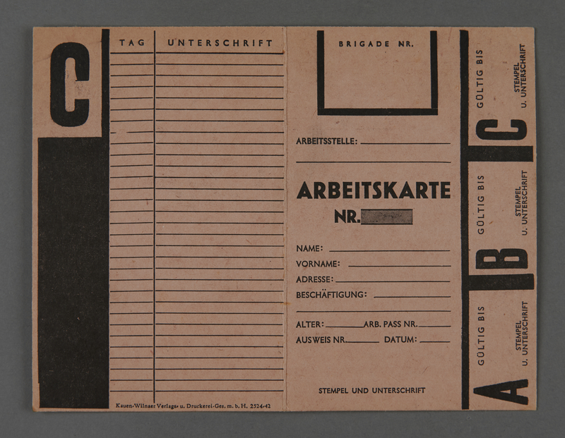 1995.89.413 front Labor card from the Kovno ghetto