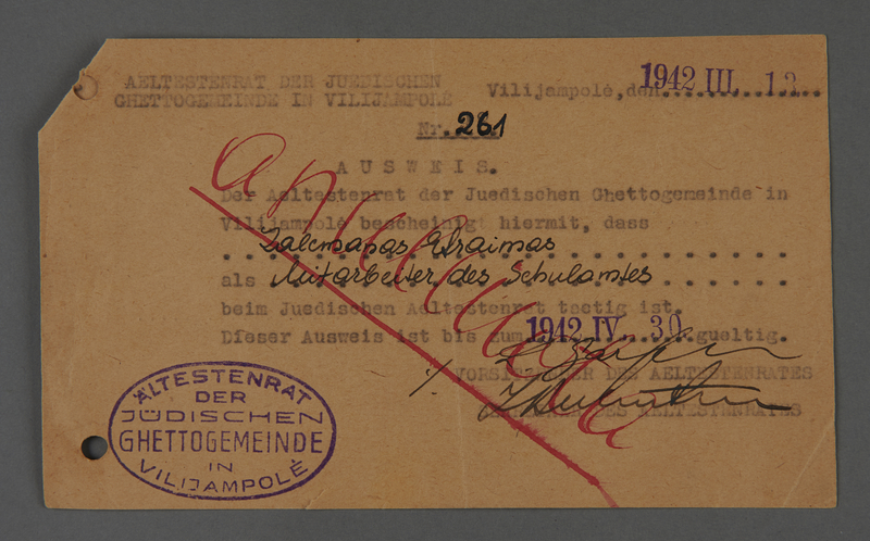 """1995.89.415 front Identification card issued by the Jewish """"Aeltestenrat"""" in Kovno, Lithuania to one of their staff members"""