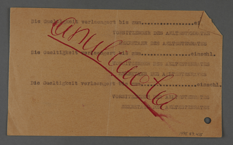 """1995.89.415 back Identification card issued by the Jewish """"Aeltestenrat"""" in Kovno, Lithuania to one of their staff members"""