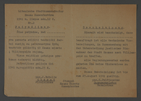 1995.89.416 front Permit allowing free movement in the Kovno ghetto to assist Jews with moving to Vilijampole  Click to enlarge
