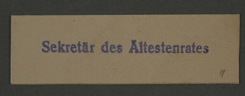 1995.89.418 front Ink stamp impression of the Secretary of the Altestenrat (Council of Elders) of the Kovno ghetto