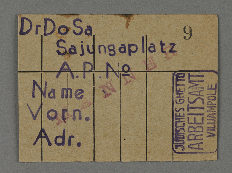 1995.89.420 front Work assignment slip from the Kovno ghetto