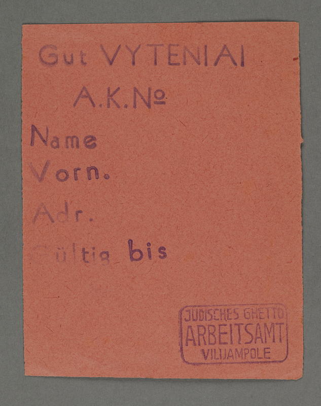 1995.89.421 front Work assignment slip from the Kovno ghetto