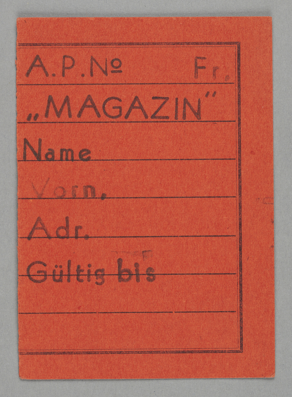 1995.89.424 front Work assignment slip from the Kovno ghetto