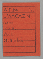 1995.89.424 front Work assignment slip from the Kovno ghetto  Click to enlarge