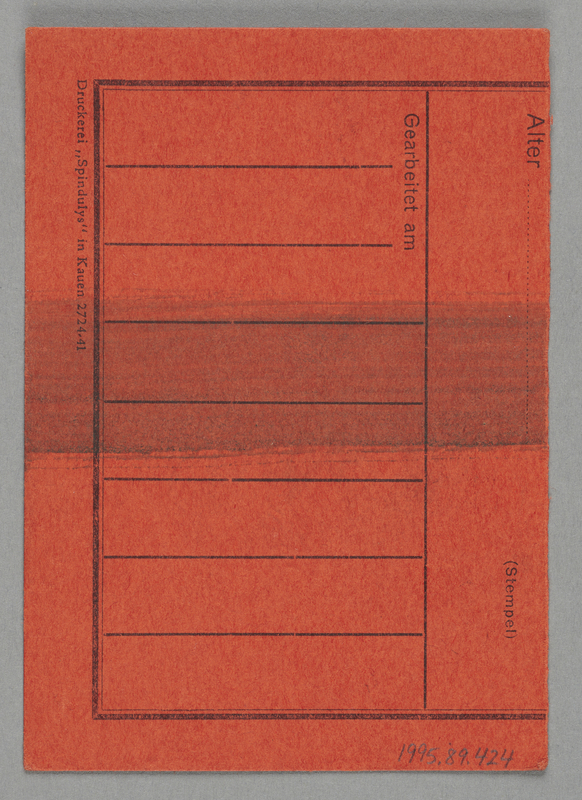 1995.89.424 back Work assignment slip from the Kovno ghetto