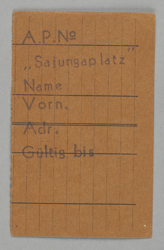 1995.89.425 front Work assignment slip from the Kovno ghetto