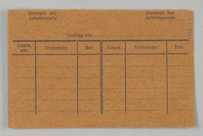 1995.89.425 back Work assignment slip from the Kovno ghetto