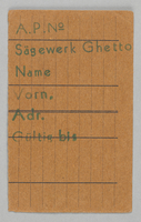 1995.89.426 front Work assignment slip from the Kovno ghetto  Click to enlarge