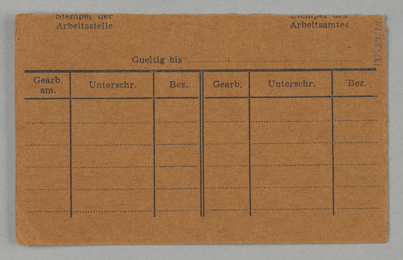 1995.89.426 back Work assignment slip from the Kovno ghetto
