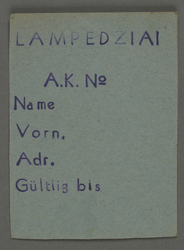 1995.89.427 front Work assignment slip from the Kovno ghetto