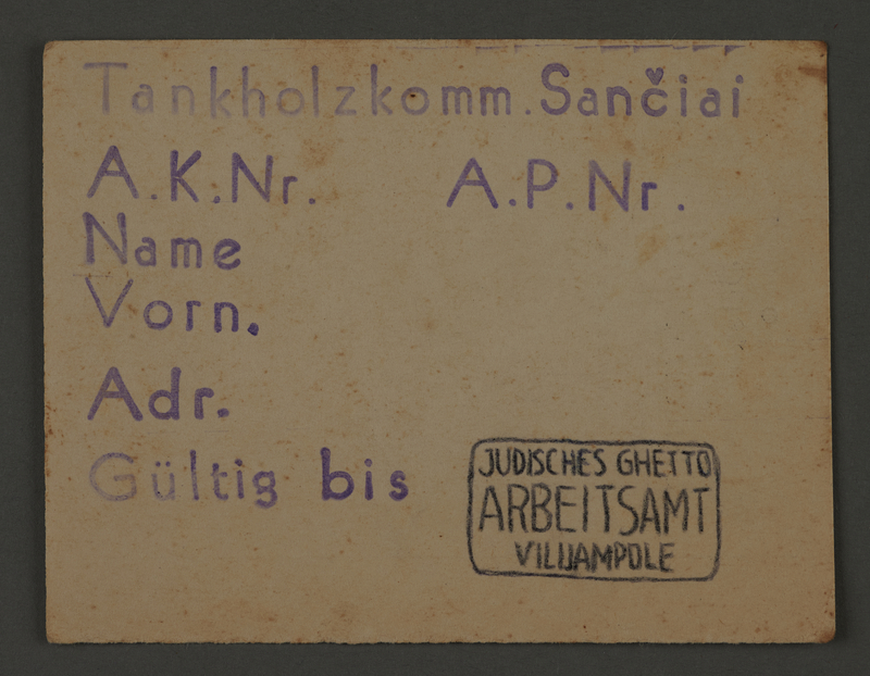 1995.89.428 front Work assignment slip from the Kovno ghetto