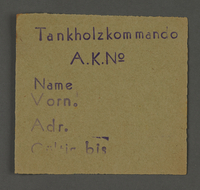 1995.89.430 front Work assignment slip from the Kovno ghetto  Click to enlarge