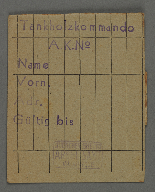 1995.89.431 front Work assignment slip from the Kovno ghetto.