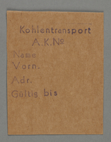 1995.89.432 front Work assignment slip from the Kovno ghetto  Click to enlarge