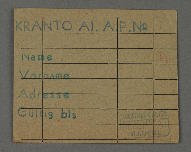 1995.89.435 front Work assignment slip from the Kovno ghetto