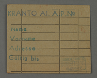 1995.89.435 front Work assignment slip from the Kovno ghetto  Click to enlarge