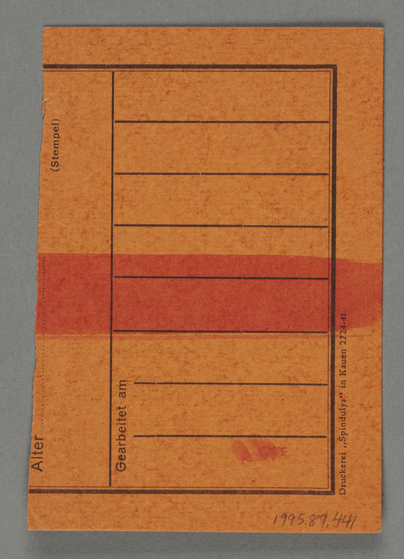 1995.89.441 back Work assignment slip from the Kovno ghetto